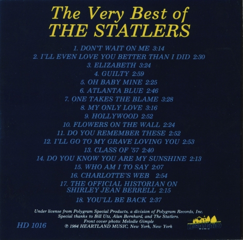 The Statler Brothers The Very Best Of 1984