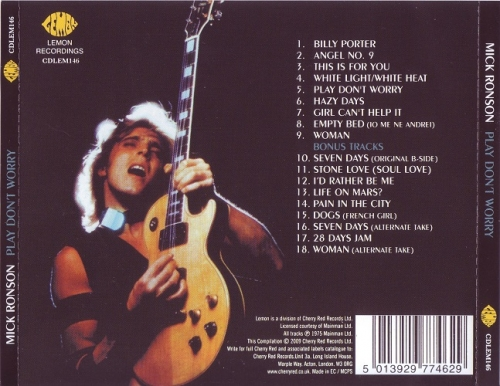 Mick Ronson - Play Don't Worry   Releases   Discogs