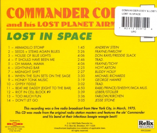 Commander Cody & His Lost Planet Airmen - Lost In Space (Reissue) (1975/1993)