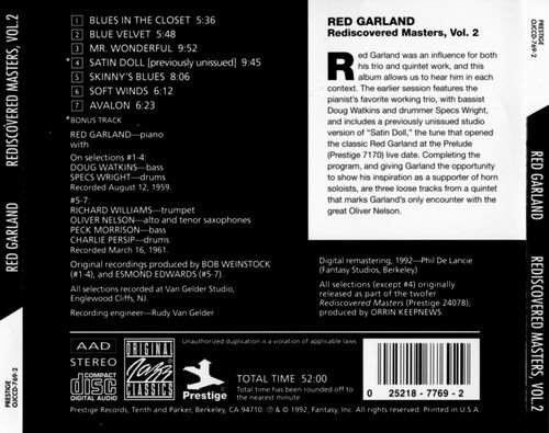 Red Garland - Rediscovered Masters Vol 2 (1961) CD Rip