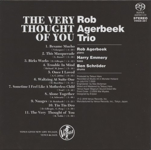 Rob Agerbeek Trio - The Very Thought Of You (2005) [2018 SACD]